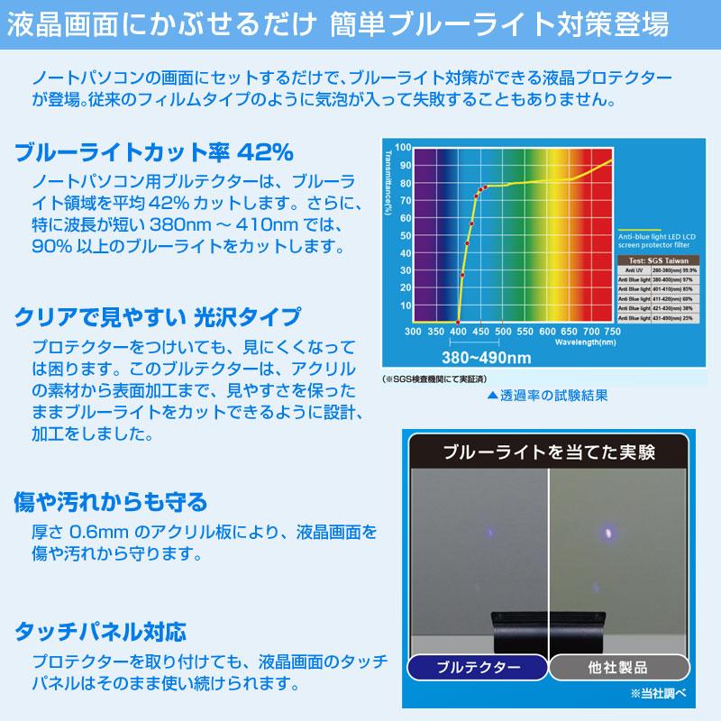 ●液晶画面にかぶせるだけ 簡単ブルーライト対策登場ノートパソコンの画面にセットするだけで、ブルーライト対策ができる液晶プロテクターが登場。従来のフィルムタイプのように気泡が入って失敗することもありません。●ブルーライトカット率 42%ノートパソコン用ブルテクターは、ブルーライト領域を平均42%カットします。さらに、特に波長が短い380nm〜410nmでは、90%以上のブルーライトをカットします。●クリアで見やすい 光沢タイププロテクターをつけいても、見にくくなっては困ります。このブルテクターは、アクリルの素材から表面加工まで、見やすさを保ったままブルーライトをカットできるように設計、加工をしました。●傷や汚れからも守る厚さ 0.6mm のアクリル板により、液晶画面を傷や汚れから守ります。●タッチパネル対応プロテクターを取り付けても、液晶画面のタッチパネルはそのまま使い続けられます。