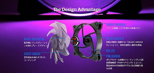 The Design AdvantageAVIARY INSPIRATION航空機にインスピレーションを得たブレードデザインGLOSSY COATING空気抵抗を減らすグロスコーティングRUBBER MOUNTINGファンの振動ノイズを抑える防振ラバーSILENT DRIVER IC回転を緻密に制御する「SILENT DRIVER IC」によって、負荷を緩和し騒音を軽減RGB LEDPOM BEARINGポリアセタール樹脂でコーティングした超低摩擦軸受「POMベアリング」によって、製品寿命49万時間(MTTF)に及ぶ高耐久性を実現