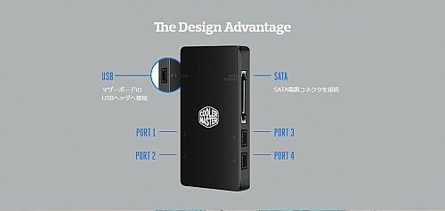 The Design Advantage USBマザーボードのUSBヘッダへ接続PORT 1PORT 2SATASATA電源コネクタを接続PORT 3PORT 4